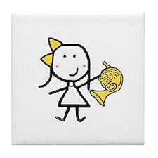 Girl & French Horn Tile Coaster