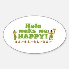 Hula Makes Me Happy Sticker (Oval)