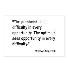 Churchill Pessimist Optimist Quote Postcards (Pack