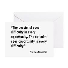 Churchill Pessimist Optimist Quote Greeting Card