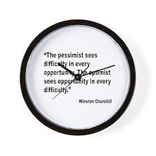 Churchill Pessimist Optimist Quote Wall Clock