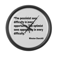 Churchill Pessimist Optimist Quote Large Wall Cloc
