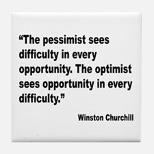 Churchill Pessimist Optimist Quote Tile Coaster