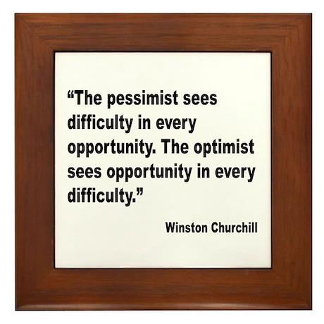 Churchill Pessimist Optimist Quote Framed Tile