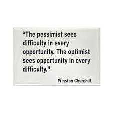 Churchill Pessimist Optimist Quote Rectangle Magne