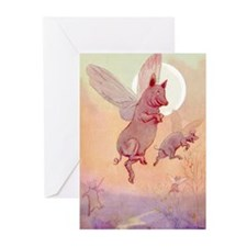 WHEN PIGS FLY IN WONDERLAND Greeting Cards (Pk of