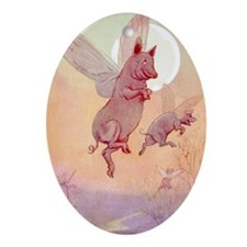 WHEN PIGS FLY IN WONDERLAND Oval Ornament