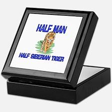 Half Man Half Siberian Tiger Keepsake Box