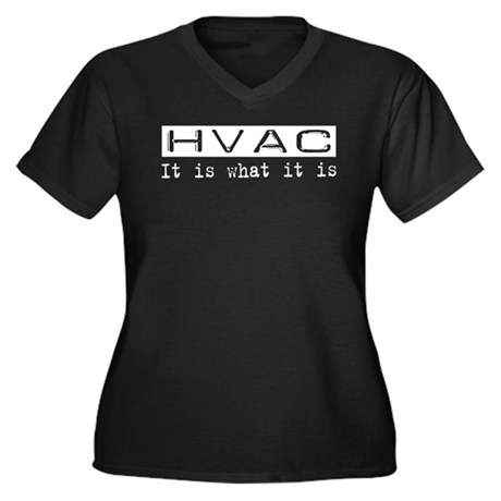 HVAC Is Women's Plus Size V-Neck Dark T-Shirt