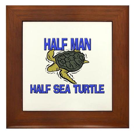 Half Man Half Sea Turtle Framed Tile