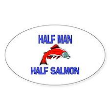 Half Man Half Salmon Oval Decal
