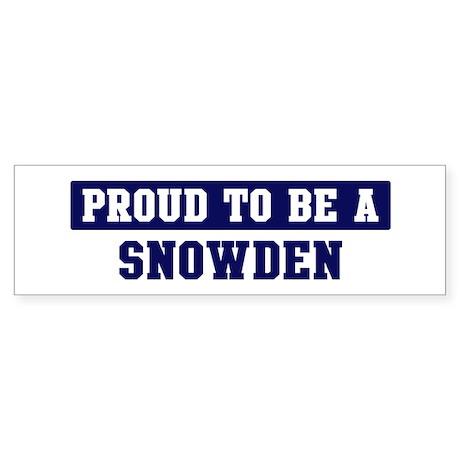 Proud to be Snowden Bumper Sticker