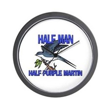 Half Man Half Purple Martin Wall Clock