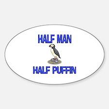 Half Man Half Puffin Oval Decal