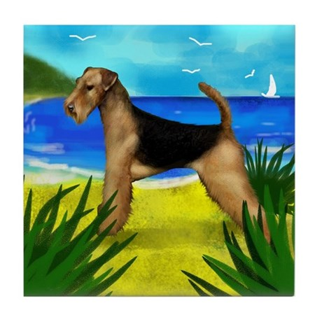 AIREDALE TERRIER DOG BEACH Tile Coaster