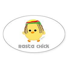 Rasta Chick Oval Decal