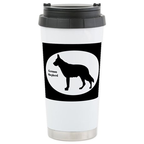 German Shepherd Silhouette Stainless Steel Travel