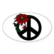 Holiday Peace Sign Oval Decal