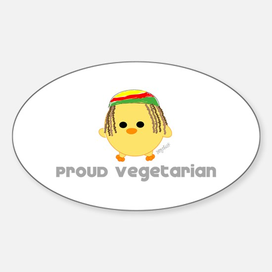 Proud Rasta Vegetarian Oval Decal