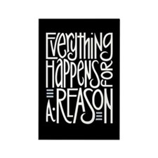 Everything Happens Black Rectangle Magnet
