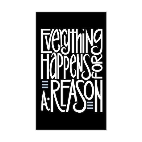 Everything Happens Black Rectangle Sticker