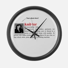 Definition of a Knitter Large Wall Clock