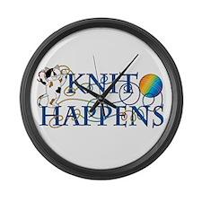 Knit Happens Large Wall Clock