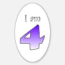 I am 4 (purple) Oval Decal