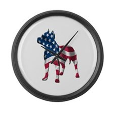 Patriotic Pit Bull Design Large Wall Clock