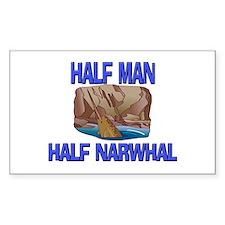 Half Man Half Narwhal Rectangle Decal