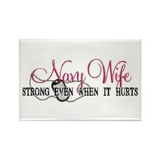 Navy Wife Strong When Hurts Rectangle Magnet