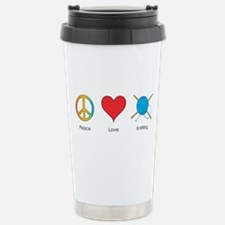 Funny Peace love knitting Travel Mug