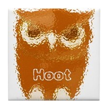 Orange Hoot Owl Tile Coaster