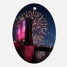 Brooklyn Bridge W Fireworks Oval Ornament