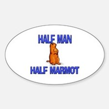 Half Man Half Marmot Oval Decal