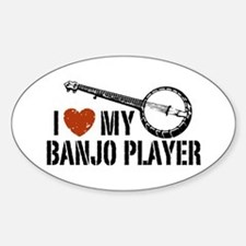 I Love My Banjo Player Oval Decal