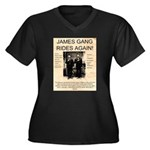 The James Gang Women's Plus Size V-Neck Dark T-Shi