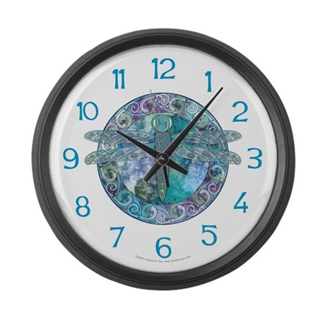 Cool Celtic Dragonfly Large Wall Clock