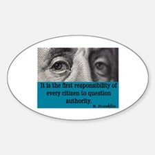 BEN FRANKLIN QUOTE Oval Decal