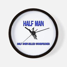 Half Man Half Ivory-Billed Woodpecker Wall Clock