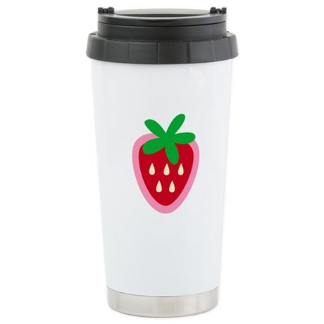 Strawberry Solitaire Stainless Steel Travel Mug
