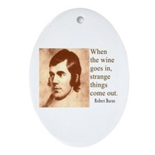 ROBERT BURNS WINE QUOTE Oval Ornament