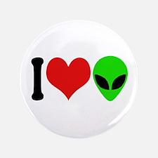 """I Love Aliens (design) 3.5"""" Button"""