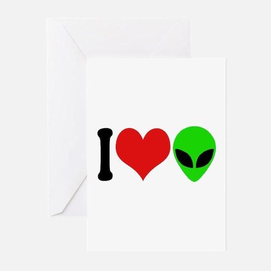 I Love Aliens (design) Greeting Cards (Pk of 10)