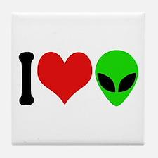 I Love Aliens (design) Tile Coaster