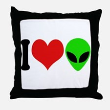 I Love Aliens (design) Throw Pillow
