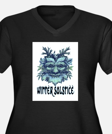 WINTER SOLSTICE Women's Plus Size V-Neck Dark T-Sh