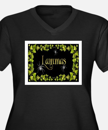 LAMMAS Women's Plus Size V-Neck Dark T-Shirt