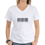 Data Entry Clerk Barcode Women's V-Neck T-Shirt