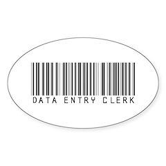 Data Entry Clerk Barcode Oval Sticker (10 pk)